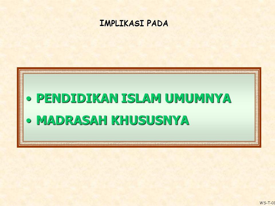 I MPLIKASI P ADA PENDIDIKAN ISLAM UMUMNYA MADRASAH KHUSUSNYA WS-T-01