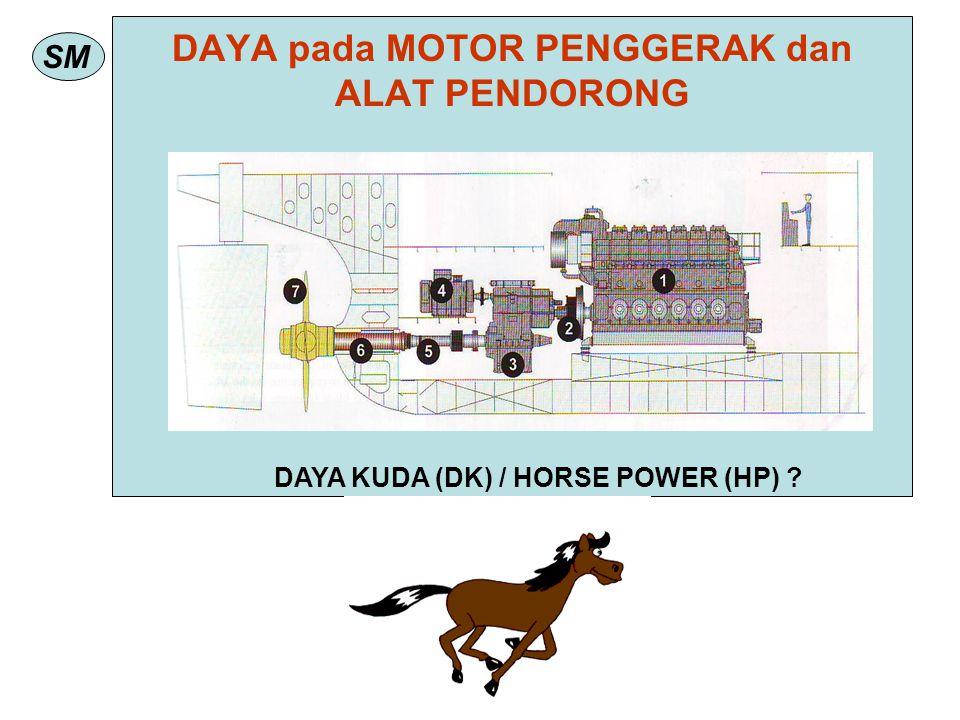 SM DAYA pada MOTOR PENGGERAK dan ALAT PENDORONG DAYA KUDA (DK) / HORSE POWER (HP) ?