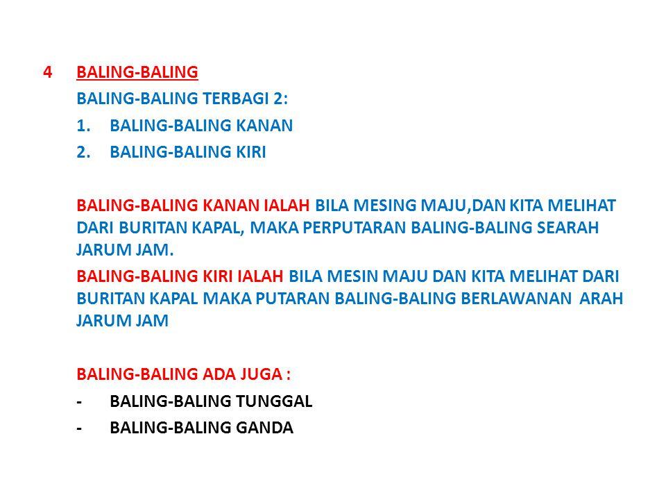 4BALING-BALING BALING-BALING TERBAGI 2: 1.BALING-BALING KANAN 2.BALING-BALING KIRI BALING-BALING KANAN IALAH BILA MESING MAJU,DAN KITA MELIHAT DARI BURITAN KAPAL, MAKA PERPUTARAN BALING-BALING SEARAH JARUM JAM.