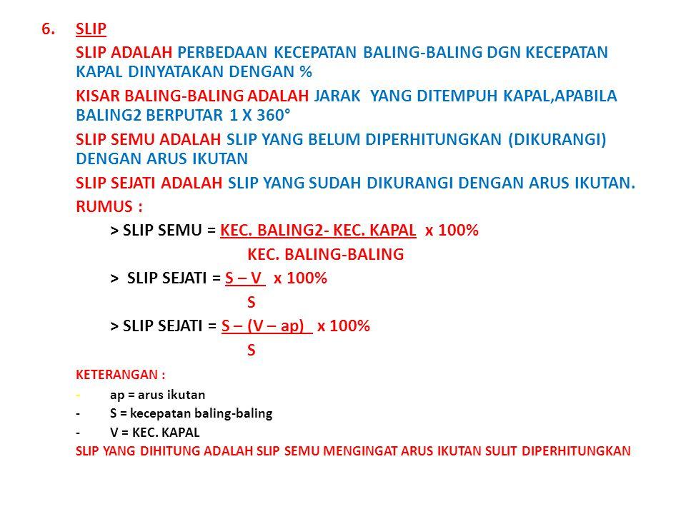 6.SLIP SLIP ADALAH PERBEDAAN KECEPATAN BALING-BALING DGN KECEPATAN KAPAL DINYATAKAN DENGAN % KISAR BALING-BALING ADALAH JARAK YANG DITEMPUH KAPAL,APABILA BALING2 BERPUTAR 1 X 360° SLIP SEMU ADALAH SLIP YANG BELUM DIPERHITUNGKAN (DIKURANGI) DENGAN ARUS IKUTAN SLIP SEJATI ADALAH SLIP YANG SUDAH DIKURANGI DENGAN ARUS IKUTAN.