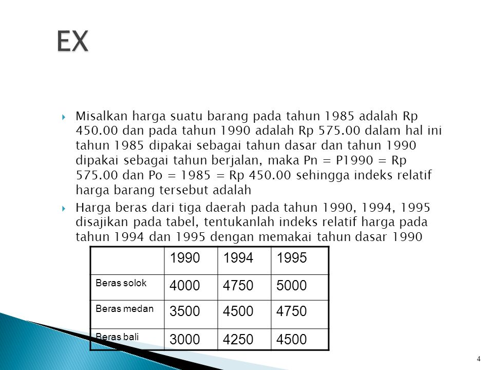  Misalkan harga suatu barang pada tahun 1985 adalah Rp 450.00 dan pada tahun 1990 adalah Rp 575.00 dalam hal ini tahun 1985 dipakai sebagai tahun das