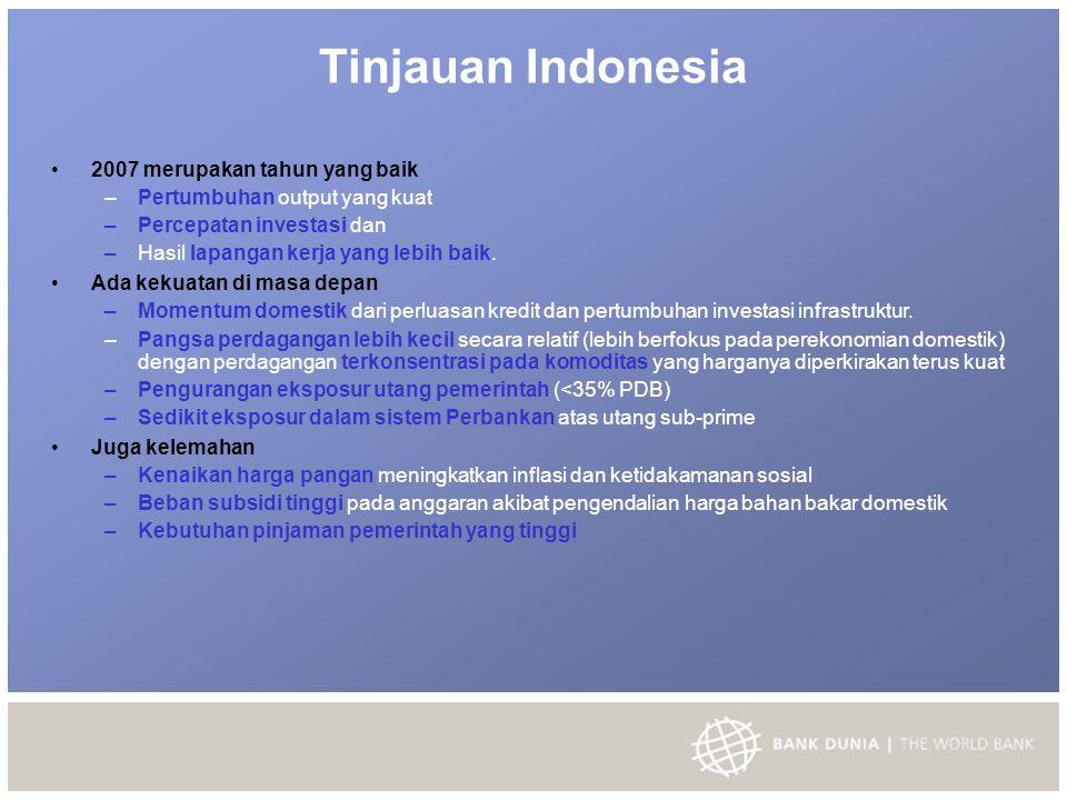 Tinjauan Indonesia 2007 merupakan tahun yang baik – Pertumbuhan output yang kuat – Percepatan investasi dan – Hasil lapangan kerja yang lebih baik.