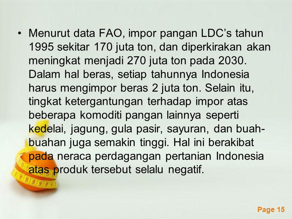 Powerpoint Templates Page 15 Menurut data FAO, impor pangan LDC's tahun 1995 sekitar 170 juta ton, dan diperkirakan akan meningkat menjadi 270 juta ton pada 2030.