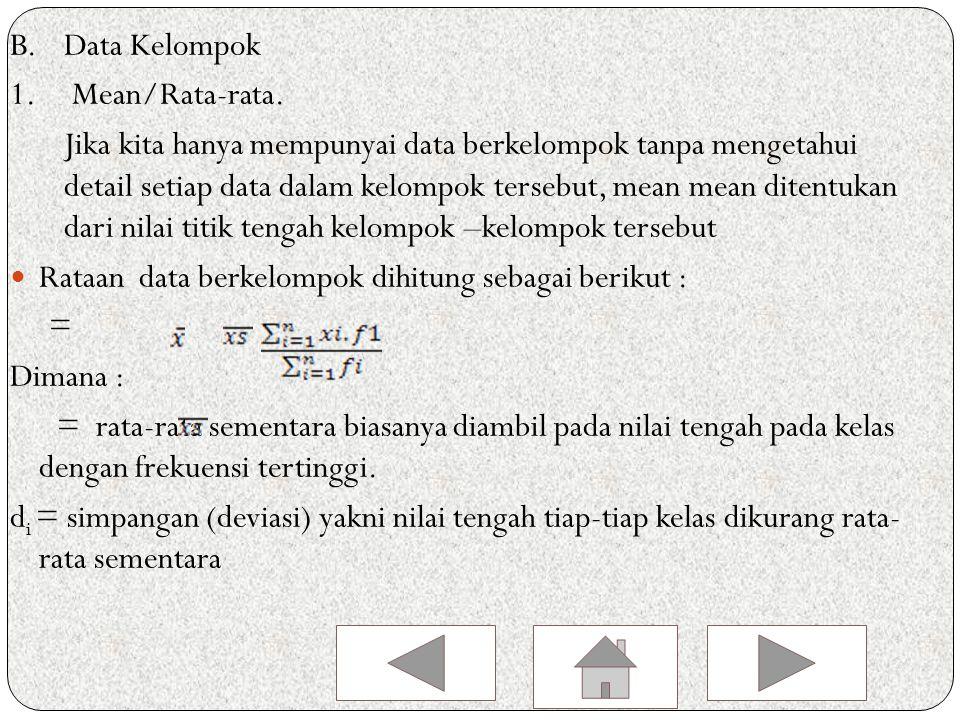 Contoh Modus dari data 7, 8, 3, 5, 7, 4, 6, 7, 3, 6, 3, 7, 8 adalah… Penyelesaian Datum 3 sebanyak 3 kali Datum 4 sebanyak 1 kali Datum 5 sebanyak 1 kali Datum 6 sebanyak 2 kali Datum 7 sebanyak 4 kali Datum 8 sebanyak 2 kali Sehingga modus data di atas adalah 7