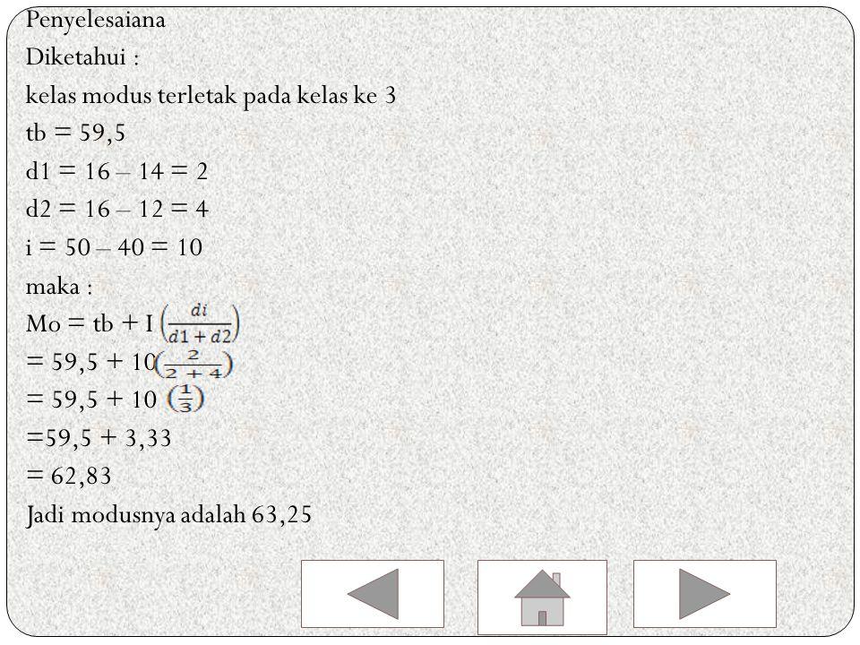 contoh tentukan modus dari data yang dinyatakan dalam daftar distribusi frekuensi berikut : Berat Badan (kg)Frekuensi 40 - 495 50 – 5914 60 – 6916 70 – 7912 80 - 893