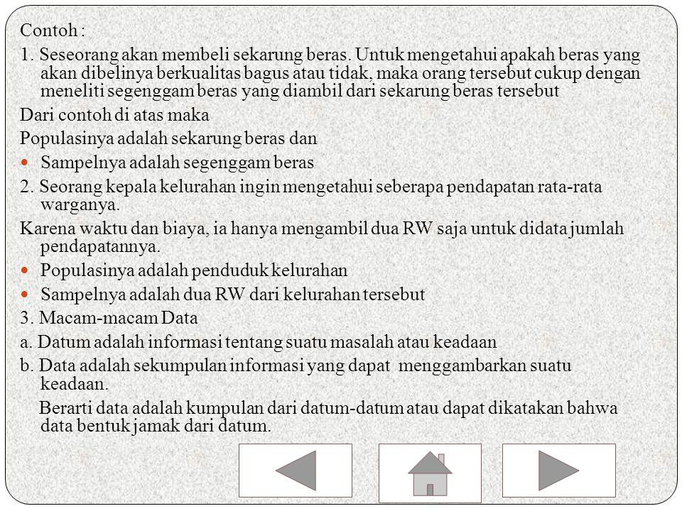 Uraian materi Data Dalam Bentuk Statistik Deskriptif 1.