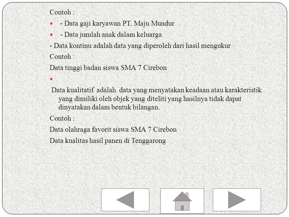 Contoh : Nilai ulangan susulan matematika dari 6 siswa kelas X 1 SMAN 1 Cirebon adalah 7,5,6,8,9,6.