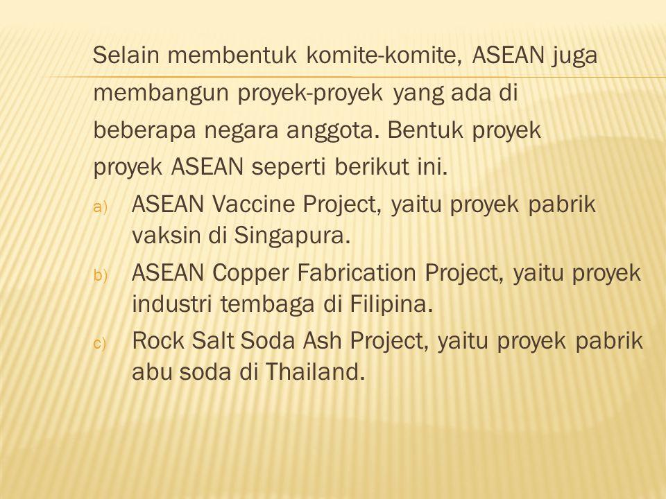 Selain membentuk komite-komite, ASEAN juga membangun proyek-proyek yang ada di beberapa negara anggota.