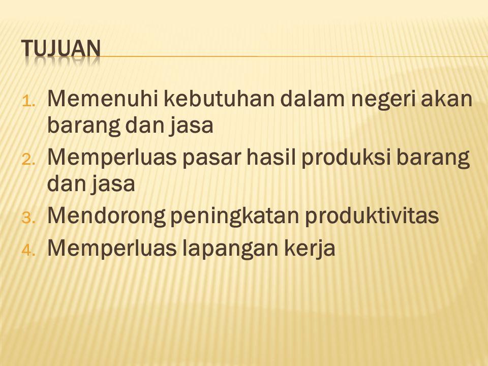 1.Memenuhi kebutuhan dalam negeri akan barang dan jasa 2.
