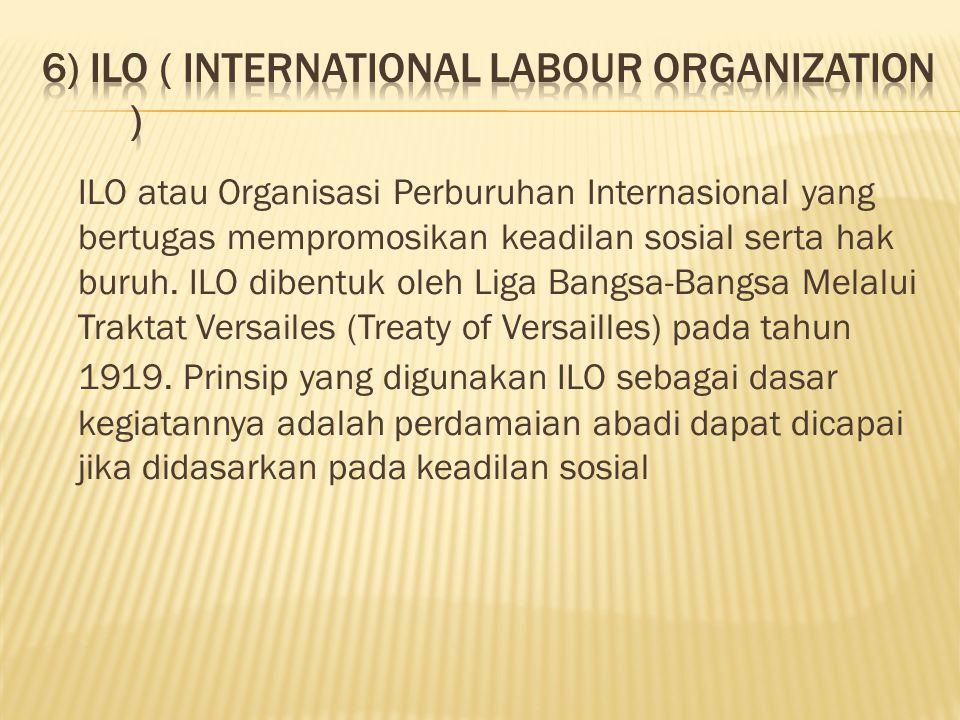 ILO atau Organisasi Perburuhan Internasional yang bertugas mempromosikan keadilan sosial serta hak buruh.