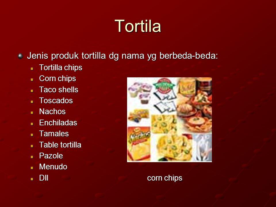 Tortila Jenis produk tortilla dg nama yg berbeda-beda: Tortilla chips Tortilla chips Corn chips Corn chips Taco shells Taco shells Toscados Toscados N