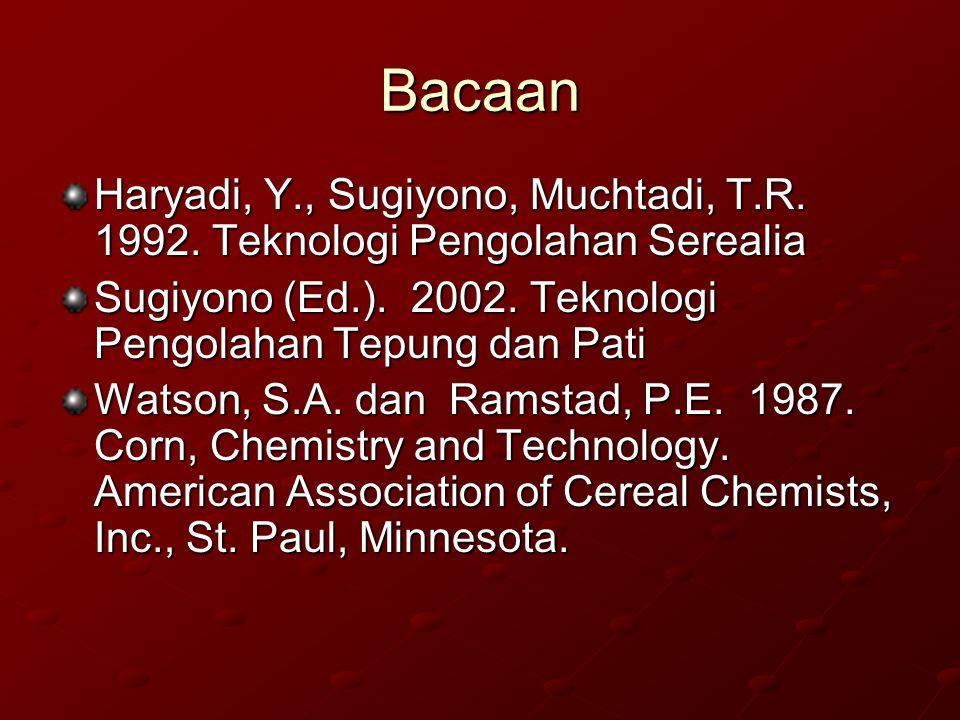 Bacaan Haryadi, Y., Sugiyono, Muchtadi, T.R. 1992. Teknologi Pengolahan Serealia Sugiyono (Ed.). 2002. Teknologi Pengolahan Tepung dan Pati Watson, S.