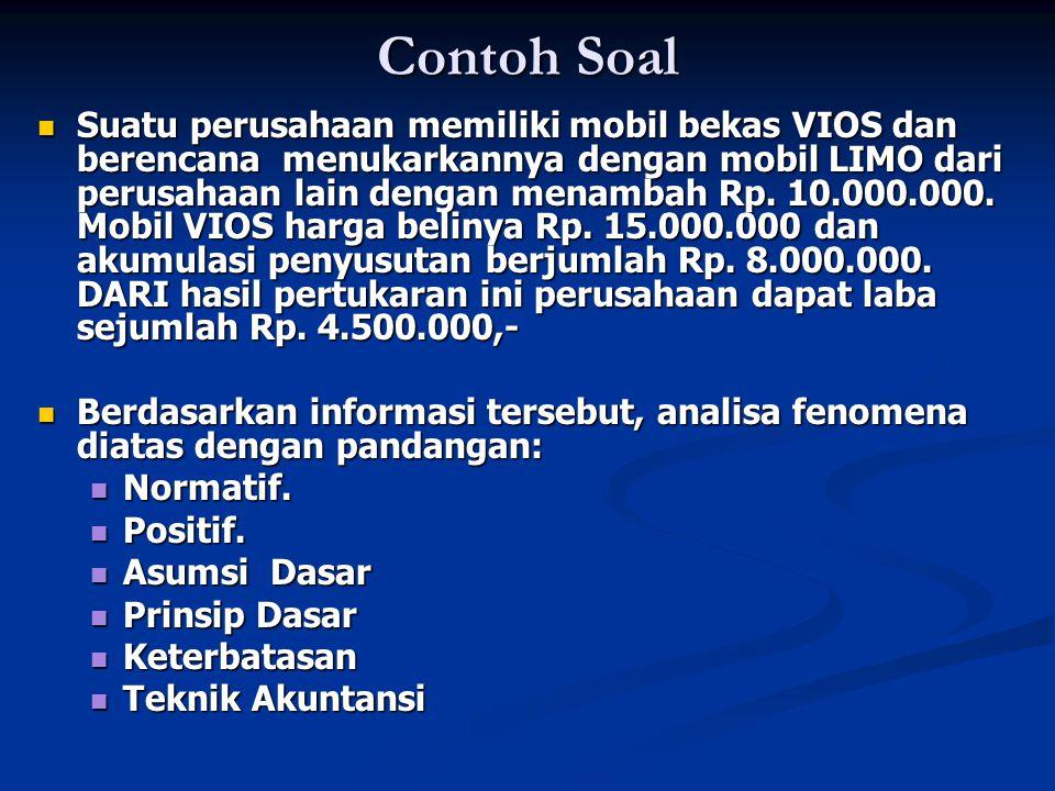 Contoh Soal Suatu perusahaan memiliki mobil bekas VIOS dan berencana menukarkannya dengan mobil LIMO dari perusahaan lain dengan menambah Rp. 10.000.0