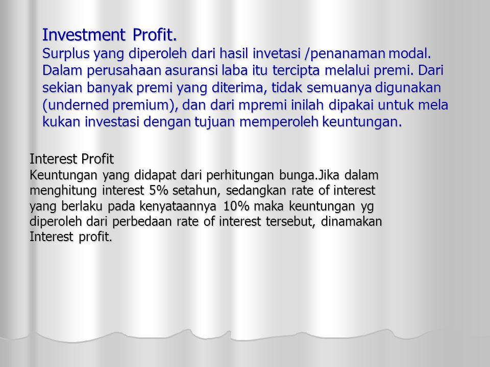 Investment Profit. Surplus yang diperoleh dari hasil invetasi /penanaman modal. Dalam perusahaan asuransi laba itu tercipta melalui premi. Dari sekian