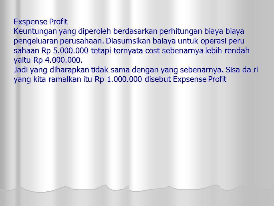 Exspense Profit Keuntungan yang diperoleh berdasarkan perhitungan biaya biaya pengeluaran perusahaan. Diasumsikan baiaya untuk operasi peru sahaan Rp