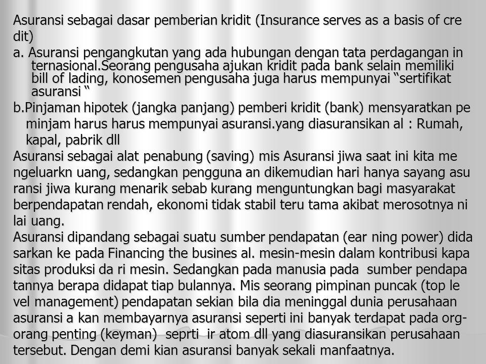 Asuransi sebagai dasar pemberian kridit (Insurance serves as a basis of cre dit) a. Asuransi pengangkutan yang ada hubungan dengan tata perdagangan in
