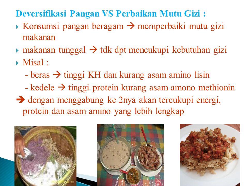 Prinsip Deversifikasi Pangan :  Pemantapan swasembada pangan  beras  Perbaikan mutu gizi pangan  Peningkatan nilai tambah non beras Dampak yang di
