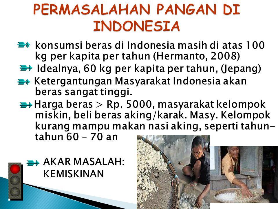 konsumsi beras di Indonesia masih di atas 100 kg per kapita per tahun (Hermanto, 2008) Idealnya, 60 kg per kapita per tahun, (Jepang) Ketergantungan Masyarakat Indonesia akan beras sangat tinggi.