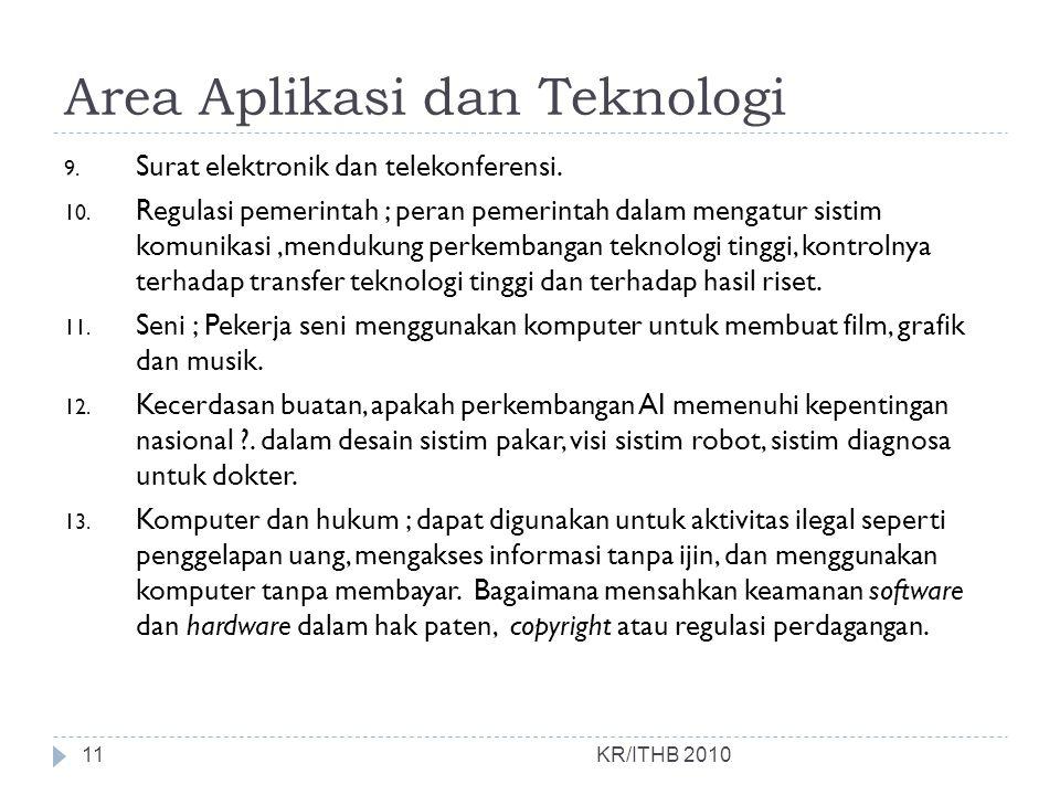 Area Aplikasi dan Teknologi KR/ITHB 2010 9. Surat elektronik dan telekonferensi. 10. Regulasi pemerintah ; peran pemerintah dalam mengatur sistim komu
