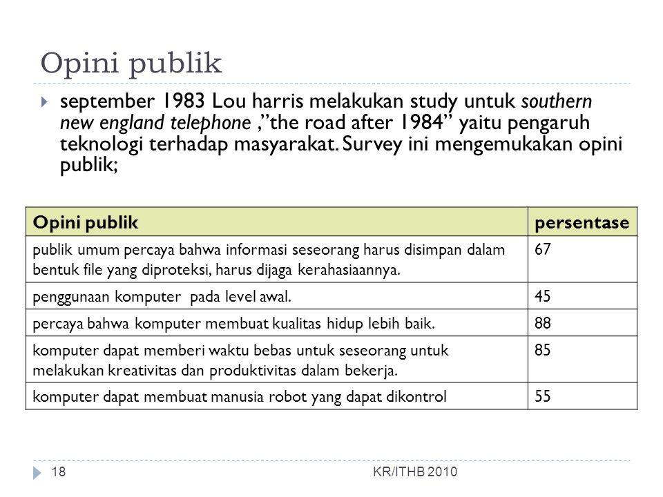"Opini publik KR/ITHB 2010  september 1983 Lou harris melakukan study untuk southern new england telephone,""the road after 1984"" yaitu pengaruh teknol"