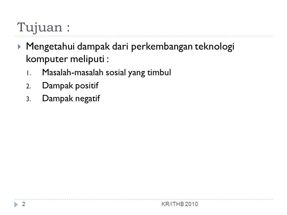 Masalah-masalah sosial KR/ITHB 2010 3.