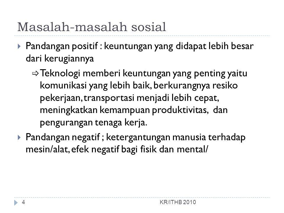 Masalah-masalah sosial KR/ITHB 2010 7.