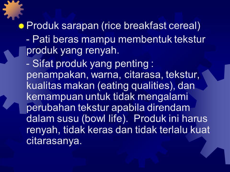  Produk sarapan (rice breakfast cereal) - Pati beras mampu membentuk tekstur produk yang renyah.