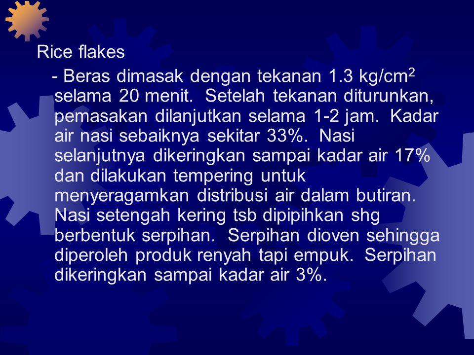 Rice flakes - Beras dimasak dengan tekanan 1.3 kg/cm 2 selama 20 menit.