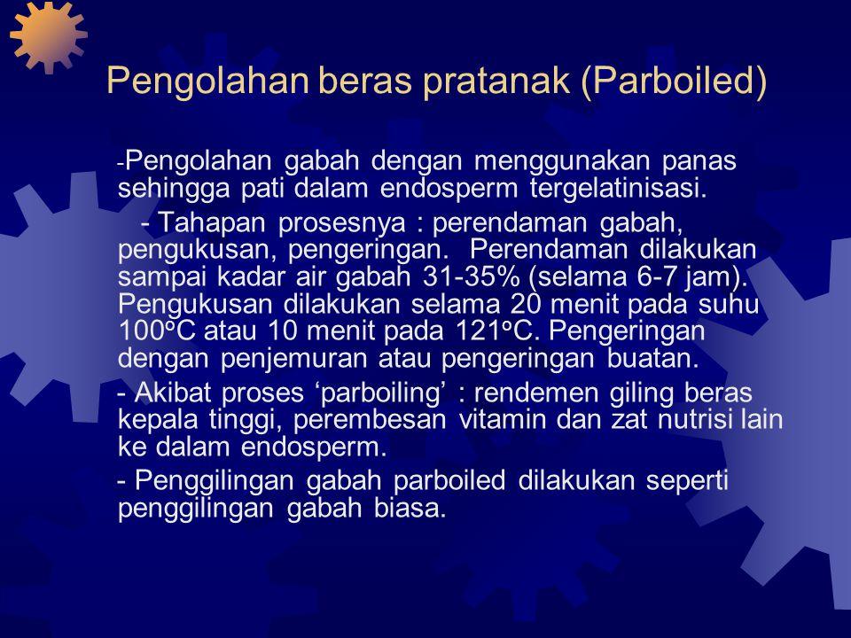 Pengolahan beras pratanak (Parboiled) - Pengolahan gabah dengan menggunakan panas sehingga pati dalam endosperm tergelatinisasi.