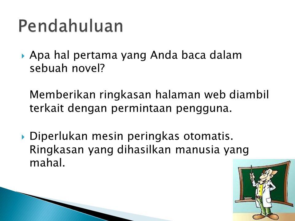  Apa hal pertama yang Anda baca dalam sebuah novel.