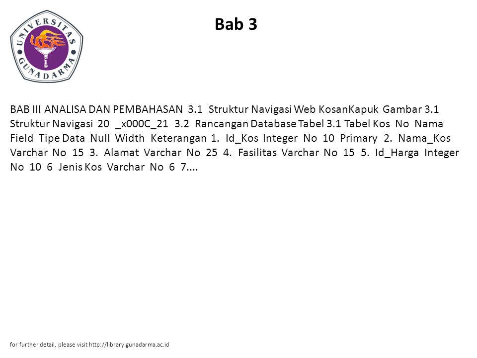 Bab 3 BAB III ANALISA DAN PEMBAHASAN 3.1 Struktur Navigasi Web KosanKapuk Gambar 3.1 Struktur Navigasi 20 _x000C_21 3.2 Rancangan Database Tabel 3.1 T