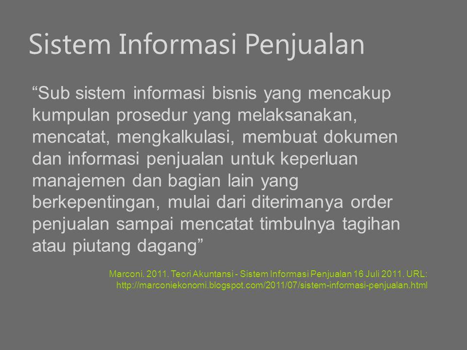 """Sistem Informasi Penjualan """"Sub sistem informasi bisnis yang mencakup kumpulan prosedur yang melaksanakan, mencatat, mengkalkulasi, membuat dokumen da"""