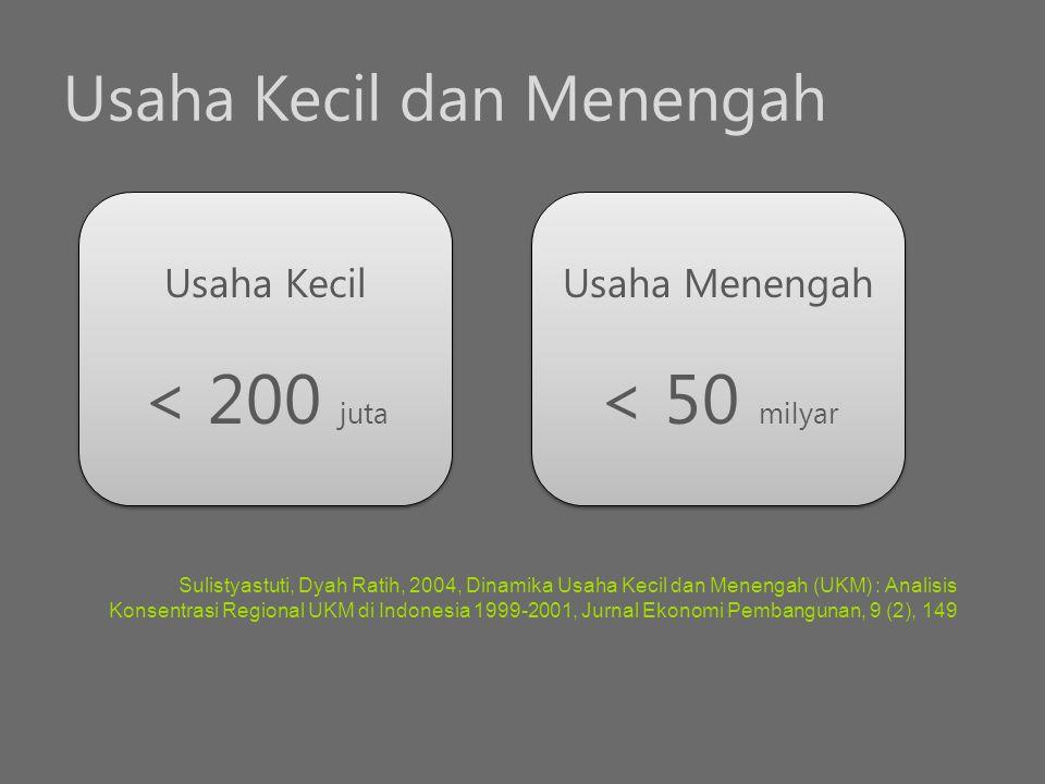 Usaha Kecil dan Menengah Sulistyastuti, Dyah Ratih, 2004, Dinamika Usaha Kecil dan Menengah (UKM) : Analisis Konsentrasi Regional UKM di Indonesia 199