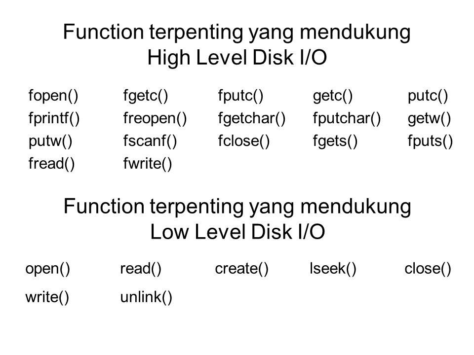 Function terpenting yang mendukung High Level Disk I/O fopen()fgetc()fputc()getc()putc() fprintf()freopen()fgetchar()fputchar()getw() putw()fscanf()fc