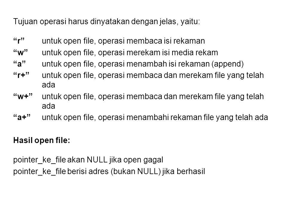 """Tujuan operasi harus dinyatakan dengan jelas, yaitu: """"r""""untuk open file, operasi membaca isi rekaman """"w""""untuk open file, operasi merekam isi media rek"""