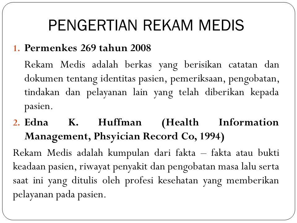 PENGERTIAN REKAM MEDIS 1. Permenkes 269 tahun 2008 Rekam Medis adalah berkas yang berisikan catatan dan dokumen tentang identitas pasien, pemeriksaan,