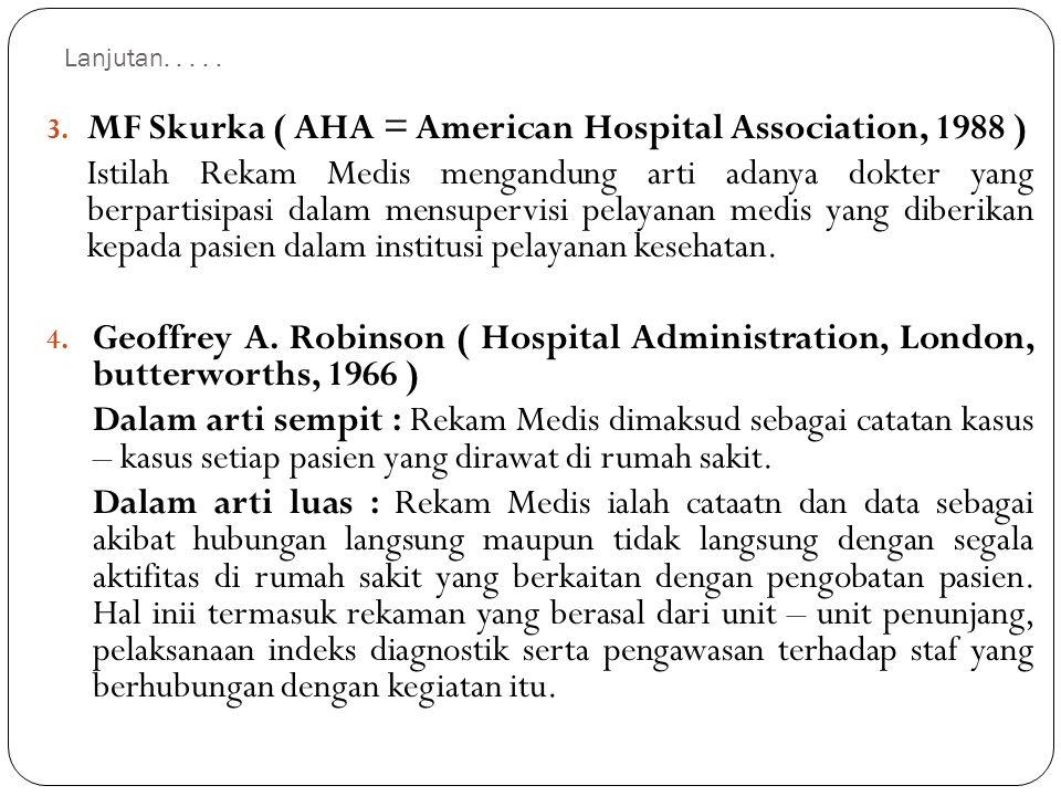 Lanjutan..... 3. MF Skurka ( AHA = American Hospital Association, 1988 ) Istilah Rekam Medis mengandung arti adanya dokter yang berpartisipasi dalam m
