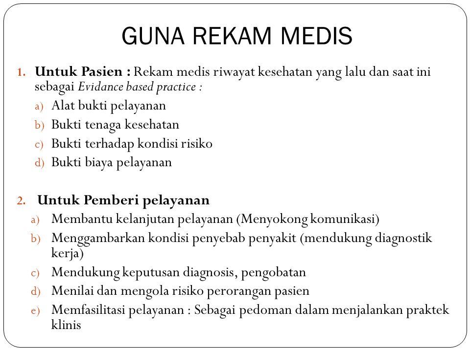 GUNA REKAM MEDIS 1. Untuk Pasien : Rekam medis riwayat kesehatan yang lalu dan saat ini sebagai Evidance based practice : a) Alat bukti pelayanan b) B