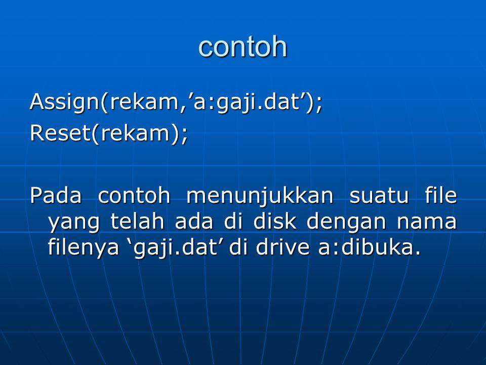 contoh Assign(rekam,'a:gaji.dat');Reset(rekam); Pada contoh menunjukkan suatu file yang telah ada di disk dengan nama filenya 'gaji.dat' di drive a:di