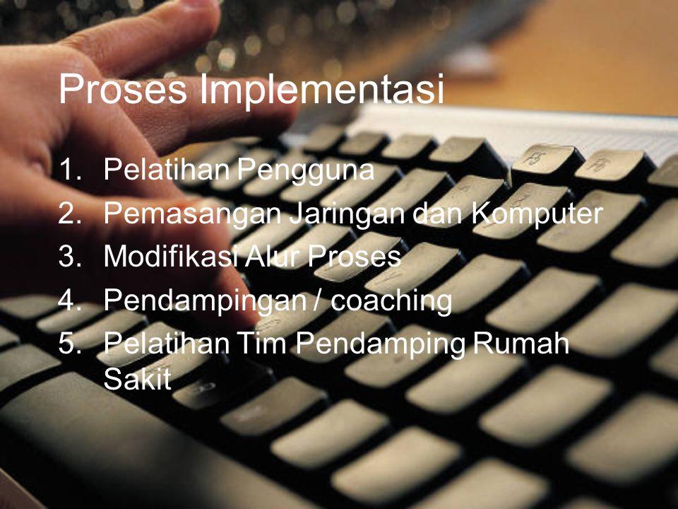 Proses Implementasi 1.Pelatihan Pengguna 2.Pemasangan Jaringan dan Komputer 3.Modifikasi Alur Proses 4.Pendampingan / coaching 5.Pelatihan Tim Pendamp
