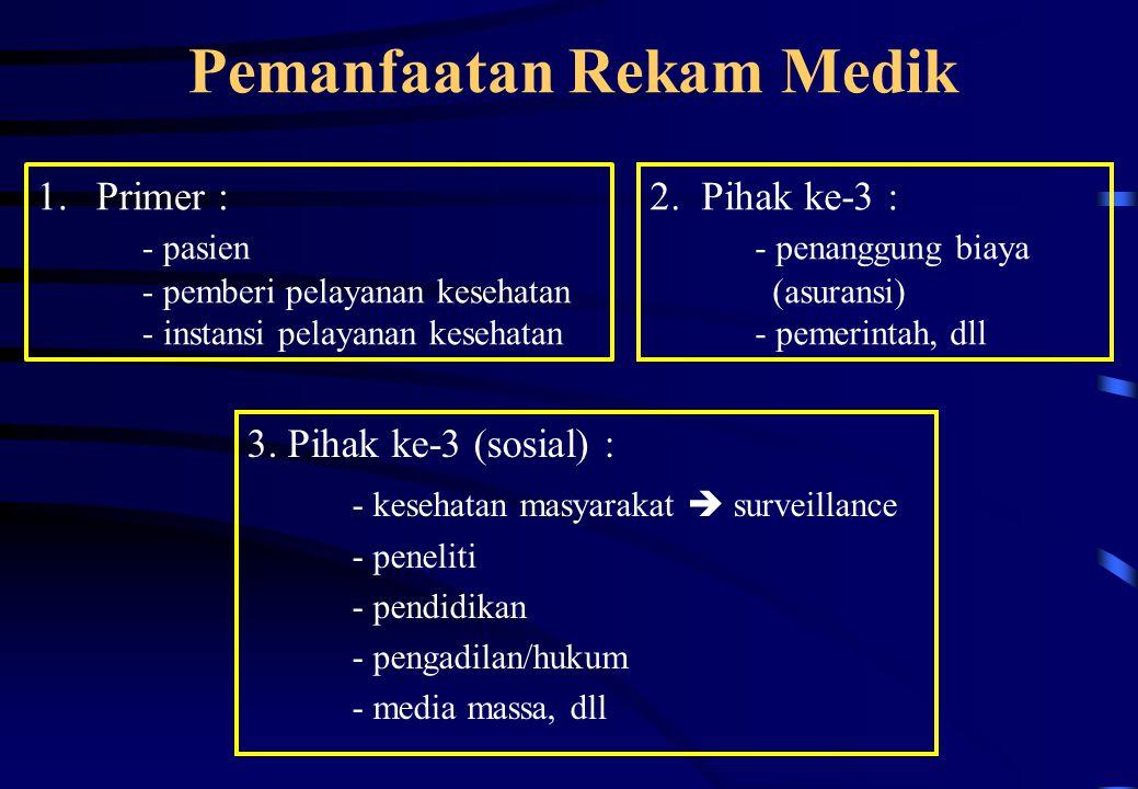 Pemanfaatan Rekam Medik 3. Pihak ke-3 (sosial) : - kesehatan masyarakat  surveillance - peneliti - pendidikan - pengadilan/hukum - media massa, dll 1