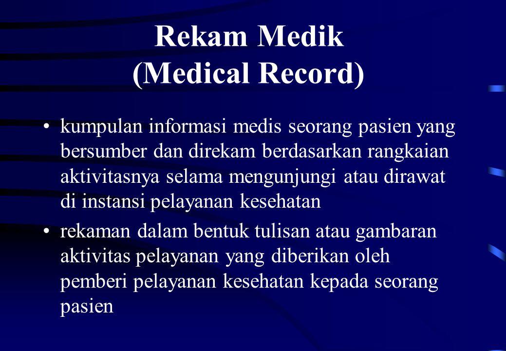 Rekam Medik (Medical Record) kumpulan informasi medis seorang pasien yang bersumber dan direkam berdasarkan rangkaian aktivitasnya selama mengunjungi