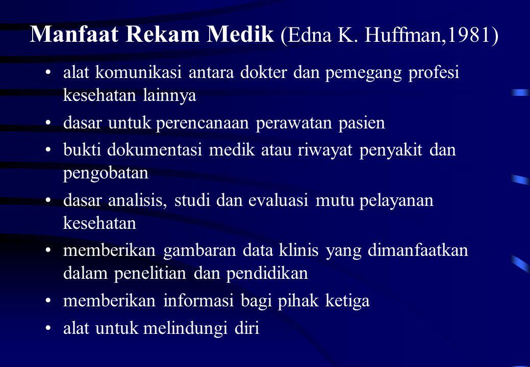 Manfaat Rekam Medik (Edna K. Huffman,1981) alat komunikasi antara dokter dan pemegang profesi kesehatan lainnya dasar untuk perencanaan perawatan pasi