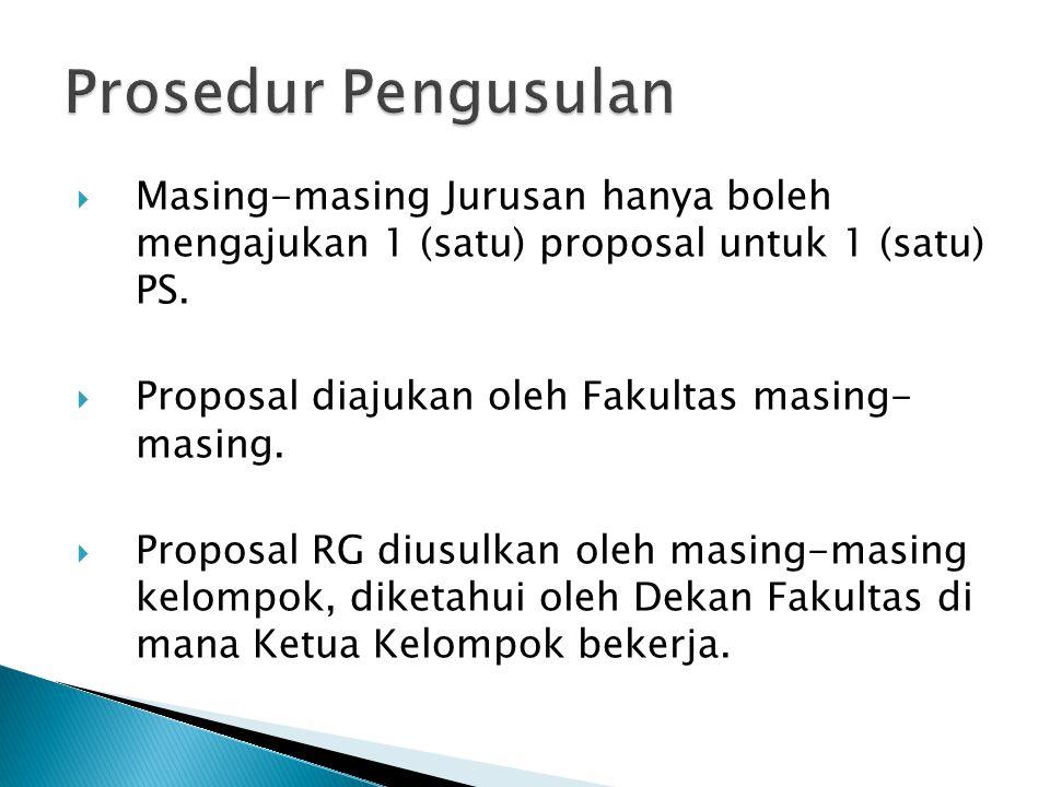  Masing-masing Jurusan hanya boleh mengajukan 1 (satu) proposal untuk 1 (satu) PS.