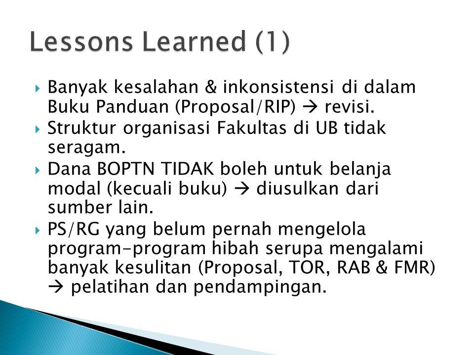  Banyak kesalahan & inkonsistensi di dalam Buku Panduan (Proposal/RIP)  revisi.