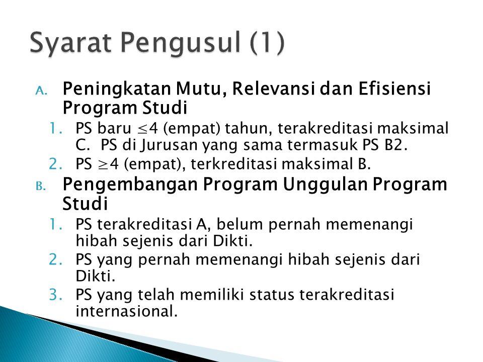 A. Peningkatan Mutu, Relevansi dan Efisiensi Program Studi 1.PS baru ≤4 (empat) tahun, terakreditasi maksimal C. PS di Jurusan yang sama termasuk PS B