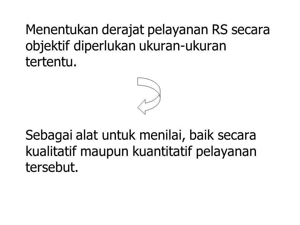 Menentukan derajat pelayanan RS secara objektif diperlukan ukuran-ukuran tertentu.