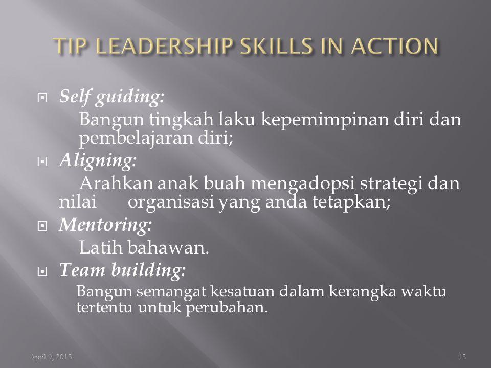  Strategic management skills Keterampilan menetapkan agenda prioritas kedepan dan mempunyai arah yang jelas kemana organisasi akan dibawa (visi dan m