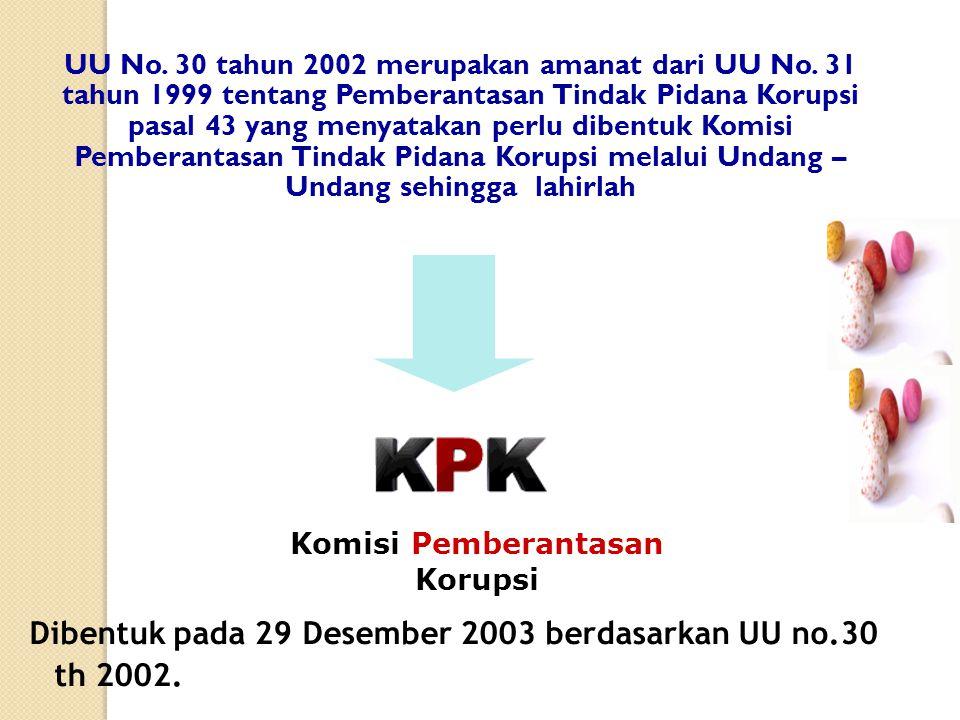 UU No.30 tahun 2002 merupakan amanat dari UU No.