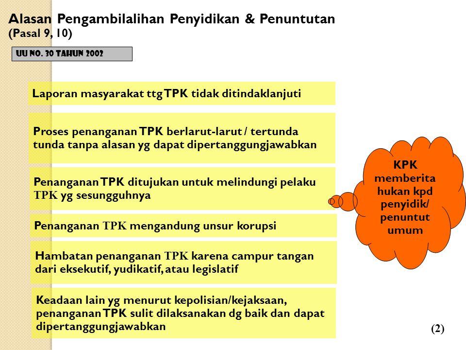 Alasan Pengambilalihan Penyidikan & Penuntutan (Pasal 9, 10)  UU No.